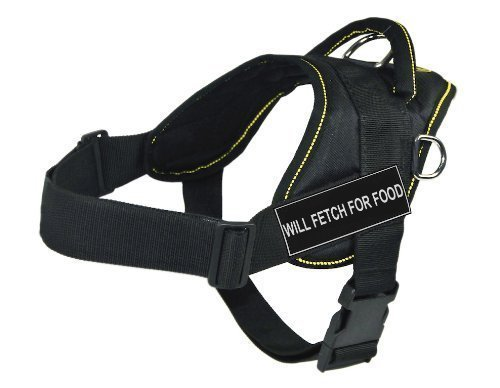 Dean & Tyler Fun Harness, Will Fetch for Food, Black with Yellow Trim, X-Small, Fits Girth Size  20-Inch to 23-Inch