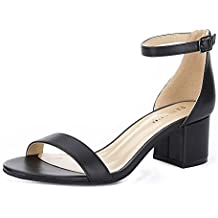Eunicer Women's Single Band Classic Chunky Block Low Heel Sandals with Ankle Strap Dress Shoes (Black and Nude)
