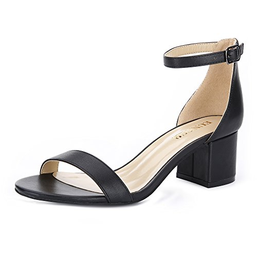 Black Womens Casual Heels - Eunicer Women's Single Band Classic Chunky Block Low Heel Sandals with Ankle Strap Dress Shoes,Black Pu,8.5 B(M) US