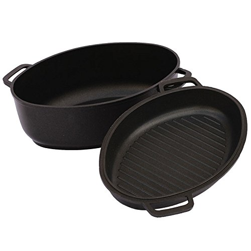 6 L Aluminum Covered Oval Roaster with Lid 6.3-qt. Nonstick Aluminum Oval Fryer