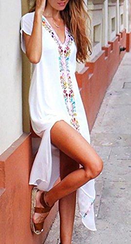 Abito Boho Spacco Fiore Spiaggia Vestito Con Casuale Abiti Tunica Maxi Donna Maniche Giorno Corte Lunghi Vintage Kaftan Camicia V Eleganti Vestiti Da Scollo Estivi Stampato Zpc41cH8f