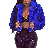 Cenglings Fashion Women Fluffy Fleece Turn-Down Collar Faux Fur Crop Coat Open Front Cardigan Top Short Loose Jacket