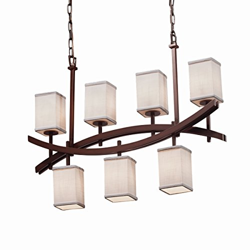 Justice Design Group Lighting FAB-8598-15-WHTE-DBRZ-LED7-4900 Textile-Archway 4-Up & 3-Downlight Chandelier-Square with Flat Rim Shade-White-LED, Dark -