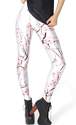 Hoyou Funky Print Leggings For Women Galaxy Floral Tribal Sexy Smooth Crazy Patterned Pants Slimming Girls White Cherry ()