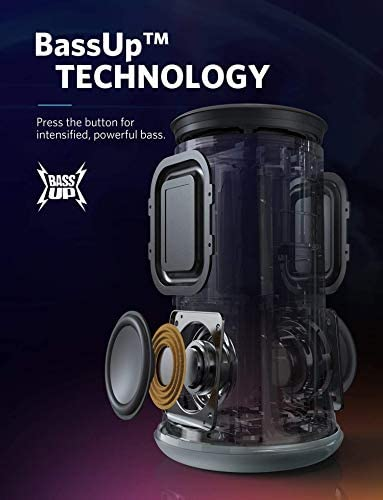 Portable Bluetooth Speaker, Soundcore Flare Wireless Speaker by Anker, Waterproof Party Speaker with 360 Sound, Enhanced Bass Ambient LED Light, IP67 Waterproof and 12-Hour Battery Life Renewed