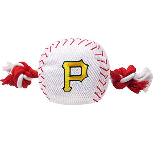 MLB PITTSBURGH PIRATES Baseball Rope Toy for DOGS & CATS. Tough nylon, Sporty Baseball Design, Heavy-duty ropes with Inner SQUEAKER