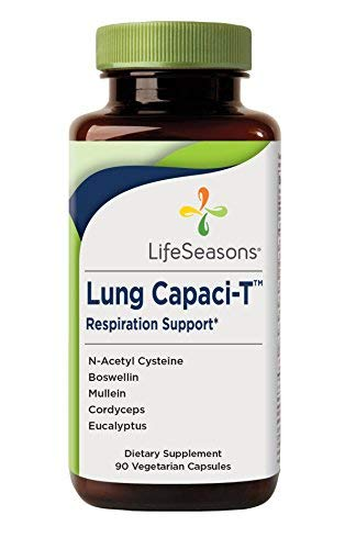 Lung Capaci-T – Lung Detox and Respiratory Supplement – Helps Reduce Phlegm – with Ginkgo Biloba, Eucalyptus, N-Acetyl Cysteine, Mullein, Boswellin (90 Capsules) Review