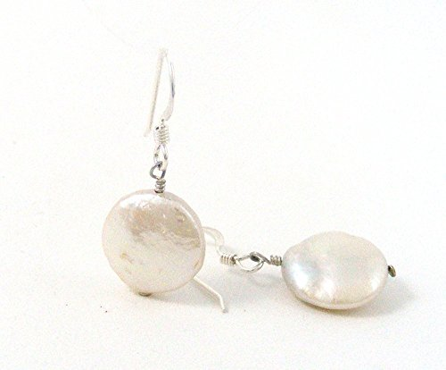 Cultured Freshwater Coin Pearl Earrings with Sterling Silver Ear Wires (Wire Earrings Pearl)