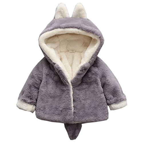 DORAMI Baby Girls Winter Autumn Cotton Warm Thick Cotton Jacket Coat (Gray, 24M (Tag 12)) by DORAMI
