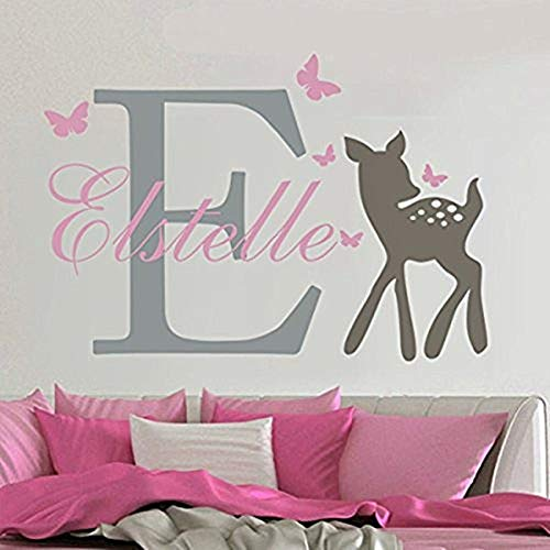 Pink And Brown Wall Decor - Lovely Custom-made Wall Decal Butterflies Deer Personalized Baby Name Wall Sticker Girls Nursery Room Decal Home Decor-You select name and color
