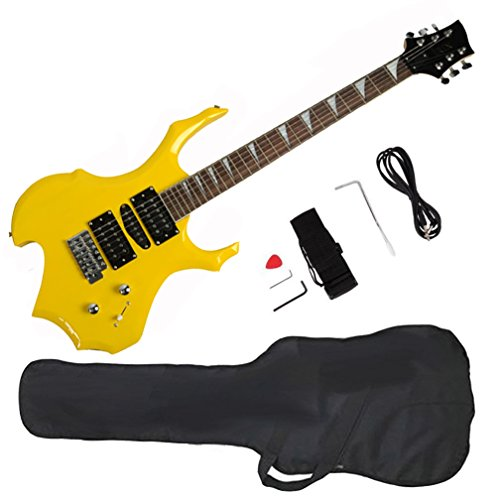 Glarry Cool Burning Fire Style Electric Guitar Christmas gift for Beginner Guitar Lover with Accessories Pack (yellow) by GLARRY