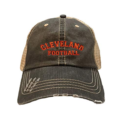 Go All Out One Size Brown/Khaki Adult Cleveland Football Embroidered Distressed Trucker Cap