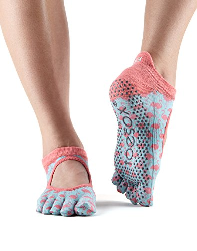 Toesox Grip Full Toe Bellarina Socks, Dance Socks and can be use for Barre, Yoga, Pilates, Fitness Non Slip Skid Socks - 1 PAIR Flamingo