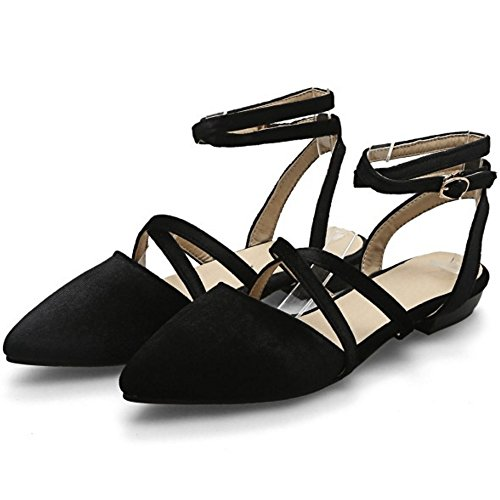 COOLCEPT Mujer Moda Criss Cruzado Correa Sandalias Plano Slingback Cerrado Zapatos Tamano Negro
