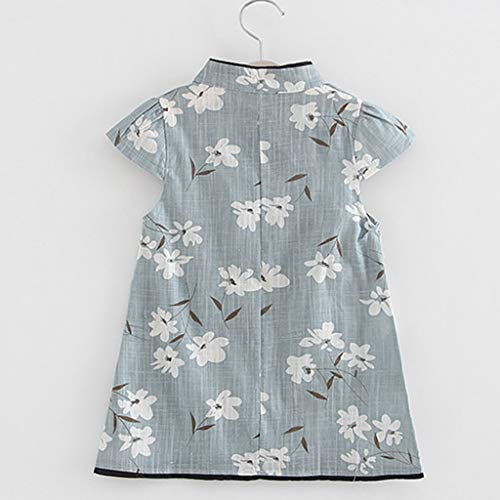 0d07ebd0a Fanteecy Cotton Linen Cheongsam Toddler Baby Girls Turtleneck Short Sleeve  Floral Print Pageant Mini Dress Kid