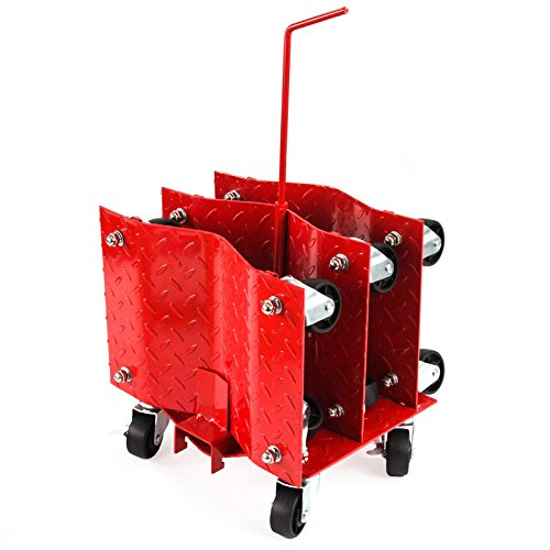 4 - Red With Storage Rack 12'' Tire Premium Skates Wheel Car Dolly Ball Bearings Skate Moving A Car Easy Furniture Movers by Red Hound Auto