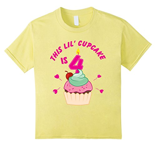Kids 4th Birthday Girls Cupcake T-Shirt Party 4 Year Old ...