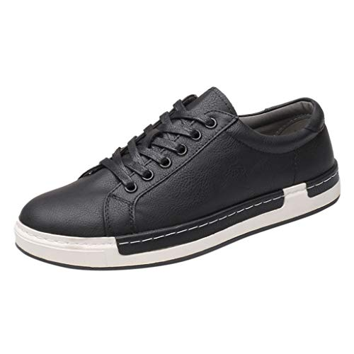 Men's Leather Fashion Sneakers Business Casual Shoes for Men Solid Lace Up Oxfords Leather Shoes Board Shoes Black (Cameo Vintage Clutch)