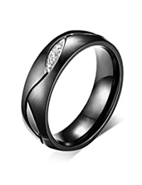 Black Stainless Steel Couple Ring Jewelry for Valentine Lovers Engagement Promise Wedding Band