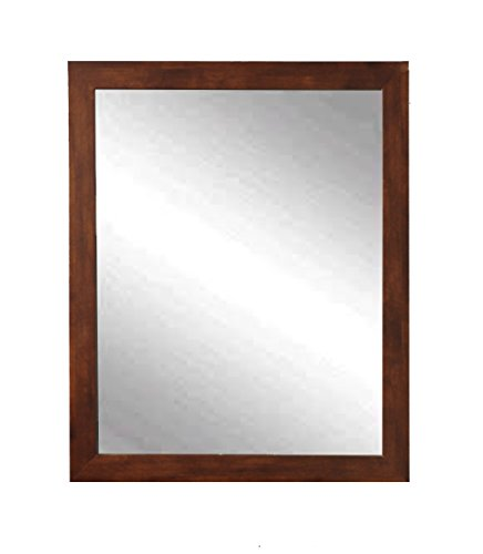 BrandtWorks, LLC BM061-L Mocha Brown Mid Century Wall Mirror 30 x - Mirrors Bathroom Guest Midcentury
