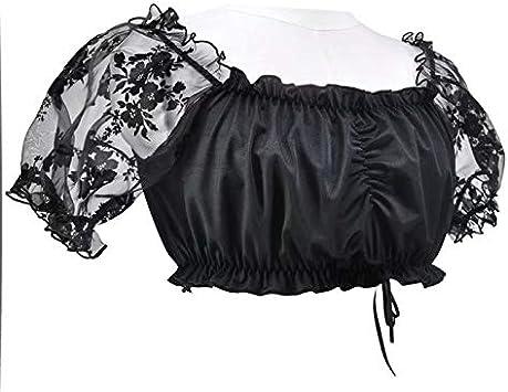 MILASIA Elegante /& Exklusive Dirndlbluse aus Spitze schwarz//transparent Dirndl Bluse Windrose