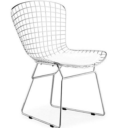 (Bertoia Style Wire Side Dining Chair In Chrome Finish (White Seat Pad))