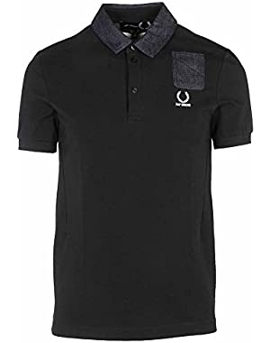 Men's SM142221102 Black Cotton Polo Shirt