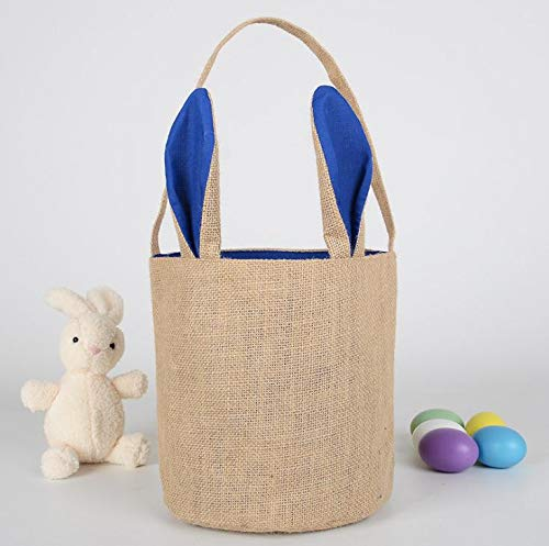 (Party Diy Decorations - 100pcs Burlap Easter Baskets Personalized Bunny Buckets Ears Bucket Gift Bag Egg Organizer 5 Colors - Halloween Egg Chick Orchid Bunny Bucket Plush Decor Toy Rabbit)