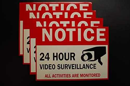 Señal de vigilancia de video (4 unidades) – calcomanía autoadhesiva de vinilo de 8 x 6 pulgadas 4 mil – Uso en...