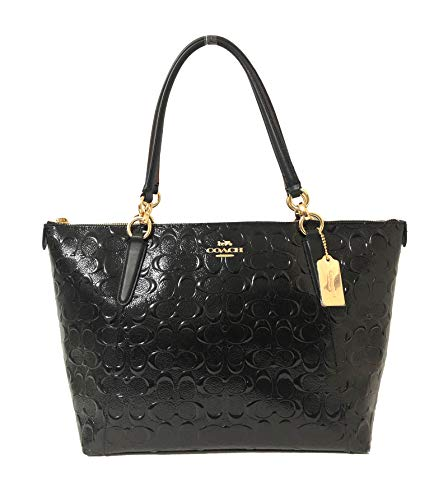 (Coach AVA Leather Shopper Tote Bag Handbag (IM/Black/Black))