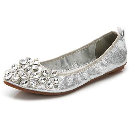 Pull Heel Solid Closed Sequins Shoes WeenFashion On Flats Toe Women's No Silver Pointed UTqnxZa5Aw