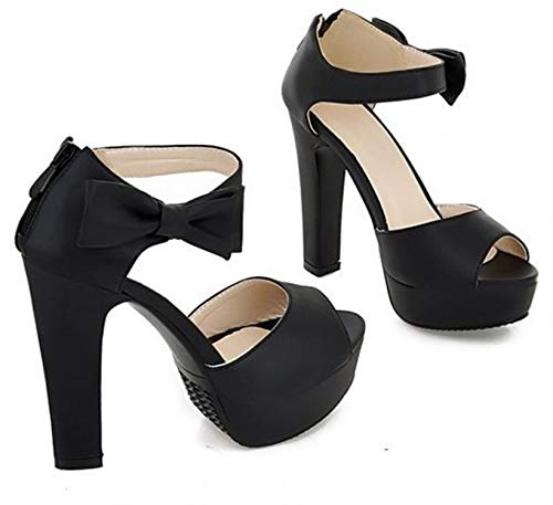Visible Wind slides-sandals Size 31-43 Summer Peep Toe Ankle Strap Orange Sweet Thick High Heel,Black,7