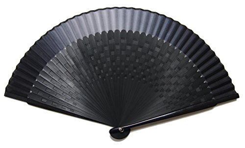 ASAO Hand Made Artisan Men's Short Fabric Silk Sensu Folding Fan Black Guard 8.7 In 42 Folds Laser Treated Ribs Checkered Pattern Black