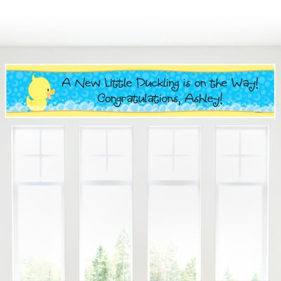 Big Dot of Happiness Custom Ducky Duck - Personalized Baby Shower or Birthday Party Decorations Party Banner
