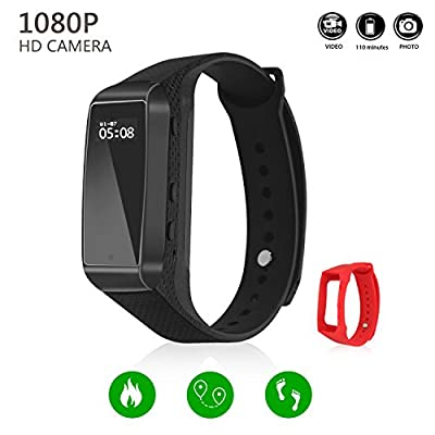 Hidden Camera LKcare HD 1080p Spy Camera 16GB Wristband Sports Camera Rechargeable Portable Surveillance Camcorder Latest Model With Tracker Function And Lens-Shielded Design by LKcare