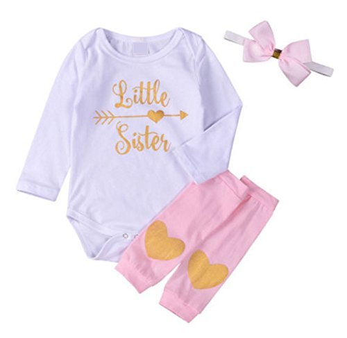 Rush Dance Boutique Newborn Lil Little Sister Big Sister Outfit Dress Sets (70 (0-3 Months), Little Sister - Long Sleeves Top, Heart Leg Warmer & Big Headband) ()