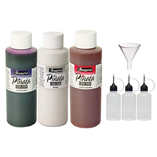 Jacquard Pinata Bundle - Pearl, Passion Purple and Senorita Magenta Colors (4-Ounce Bottles), 3 Pixiss 20ml Needle Tip Applicator and Refill Bottles and 1.5 inch Funnel Bundle for Yupo and Resin