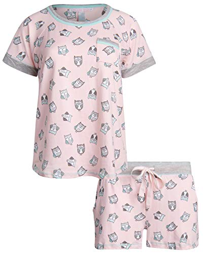 (Pillow Talk Women's Sleepwear Butter-Soft-Touch Yummy Pajama Short Set with Tee, Blush Owl, Size Small')