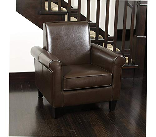 Premium Freemont Leather Club Chair, Chocolate Brown