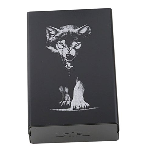 CH 20 Sticks Black Wolf Metal Cigarette Case Automatic Cigarette Tobacco Holder Storage Case Gifts