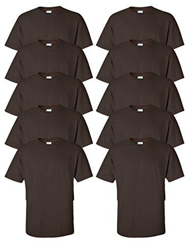 Gildan mens Ultra Cotton 6 oz. T-Shirt(G200)-DARK CHOCOLATE-L-10PK (Chocolate Ash Grey T-shirt)