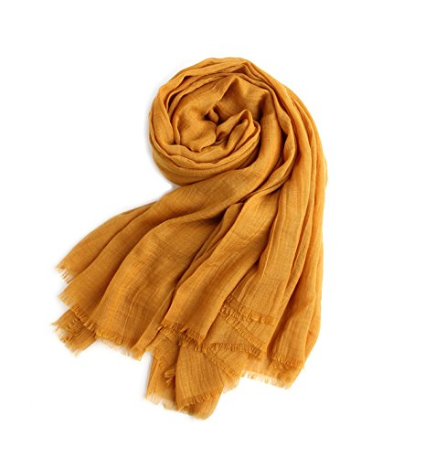 - MolVee Unisex Linen Scarf Solid Color Sunscreen Shawl Large Beach Towel (Ginger)