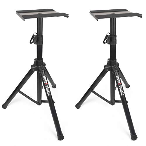 (PAIR of Studio Monitor Speaker Stands by Hola! Music, Professional Heavy-Duty Tripod Structure, Adjustable Height, Model)