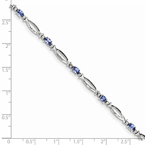 ICE CARATS 925 Sterling Silver Blue Tanzanite Diamond Bracelet 7 Inch Gemstone Fine Jewelry Gift Set For Women Heart by ICE CARATS (Image #3)