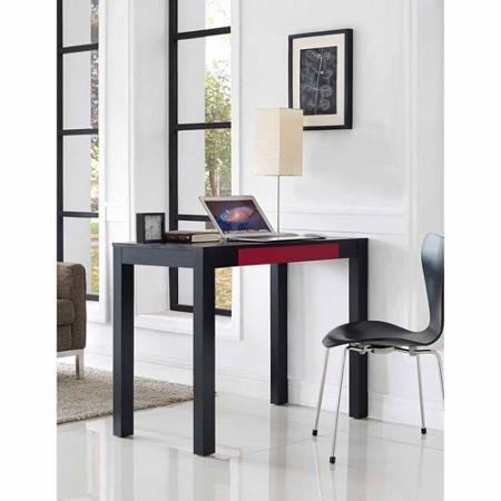 Parsons Desk with Colored Drawer,black Red by SuperIndoor
