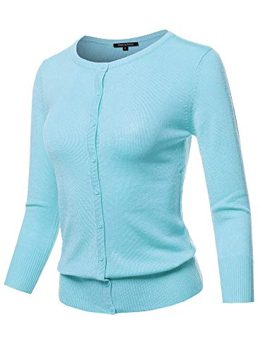 Solid Crew Neck Button Down 3/4 Sleeves Knit Cardigan Lightblue S