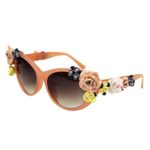 gafas gafas plástico aire de de PC chica Decoración Marco libre Republe de en flores al de gafas mujeres marco sol lente UV400 Protección sol Naranja de forma xUqgP0