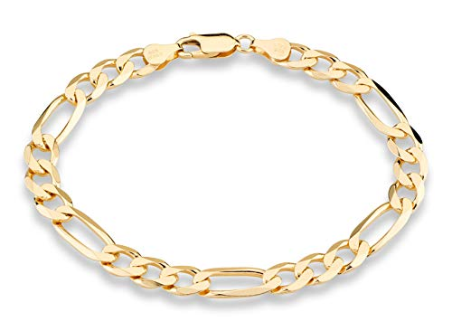 - MiaBella 18K Gold Over Sterling Silver Italian 7mm Solid Diamond-Cut Figaro Link Chain Bracelet for Men, 8