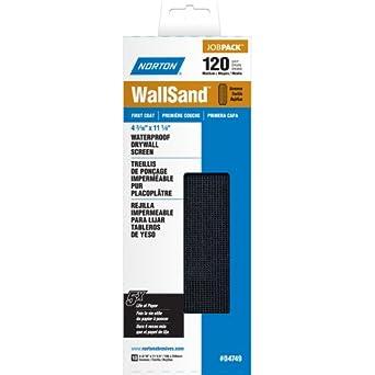 "Norton 07660704749 WallSand Drywall Sanding Screen, 11-1/4"" Length x 4-3/16"" Width, 120 Grit, Medium Grade (Pack of 10)"