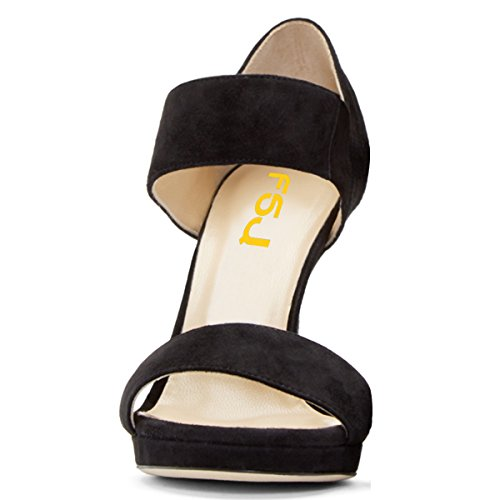 FSJ Elegant Shoes US Formal Heels Dress Platform 4 Pumps Fashion High Black Sandals Women Toe 15 Size Open zSrz7q